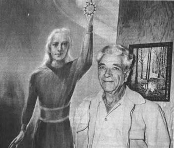 George Adamsky (à droite) et Orthon de Vénus représenté derrière lui